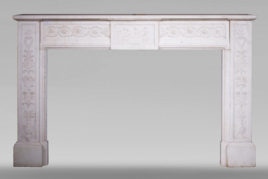 chemin e marbre blanc demi statuaire marbre. Black Bedroom Furniture Sets. Home Design Ideas