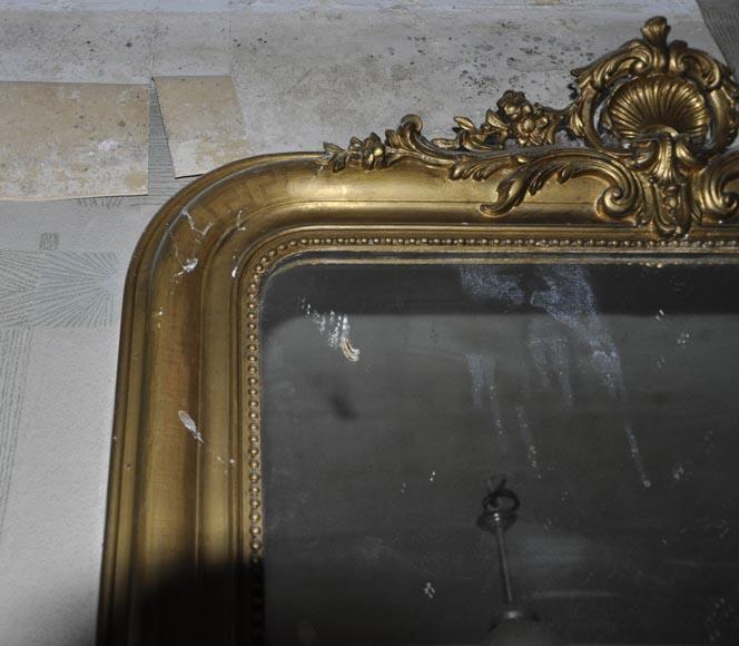 trumeau dor ancien de style louis xv coquille fleurie glaces miroirs et trumeaux. Black Bedroom Furniture Sets. Home Design Ideas