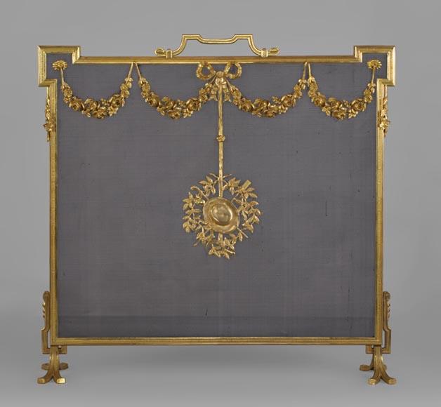 Pare tincelle ancien en bronze dor de style louis xvi for Pare etincelle pour foyer exterieur