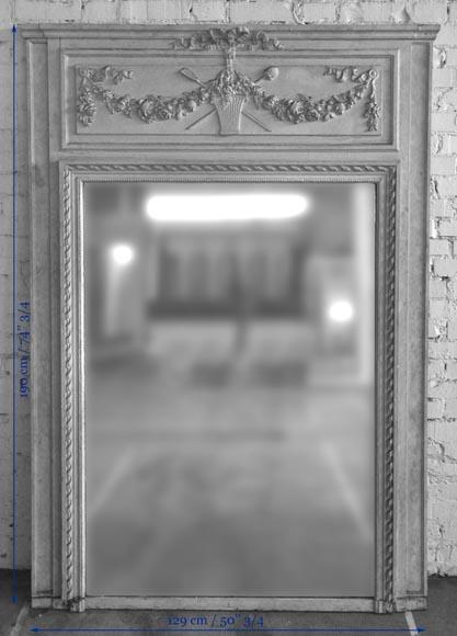 Trumeau ancien de style louis xvi d cor de panier fleuri for Miroir trumeau ancien