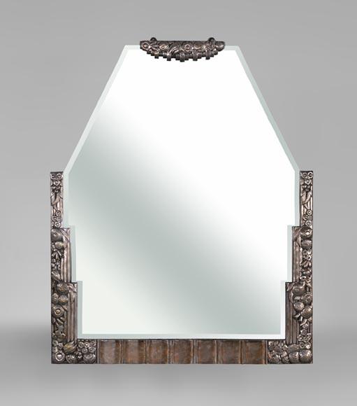 rare miroir art d co en bronze argent et miroir biseaut ann es 1930 glaces miroirs et trumeaux. Black Bedroom Furniture Sets. Home Design Ideas