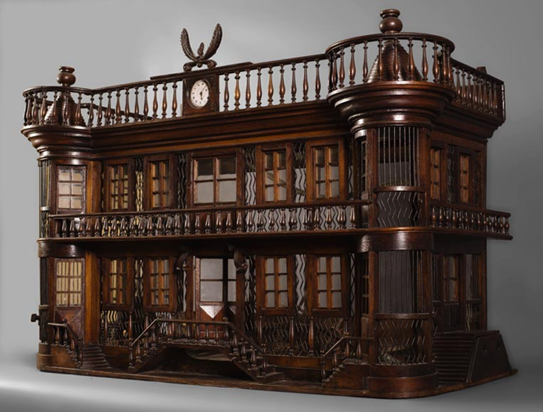 rare cage oiseaux ancienne en forme de ch teau miniature fin du xix si cle portes. Black Bedroom Furniture Sets. Home Design Ideas