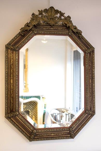 beau miroir octogonal napol on iii avec sa glace biseaut e bois bronze et incrustations de. Black Bedroom Furniture Sets. Home Design Ideas