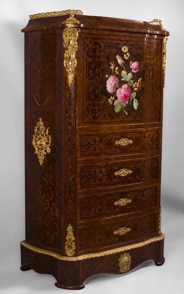 Julien Nicolas RIVART (1802 1867)   Secrétaire Chiffonnier En Marqueterie  De Bois Et De Porcelaine à Décor De Roses épanouies   Bibliothèques,  Bureaux, ...