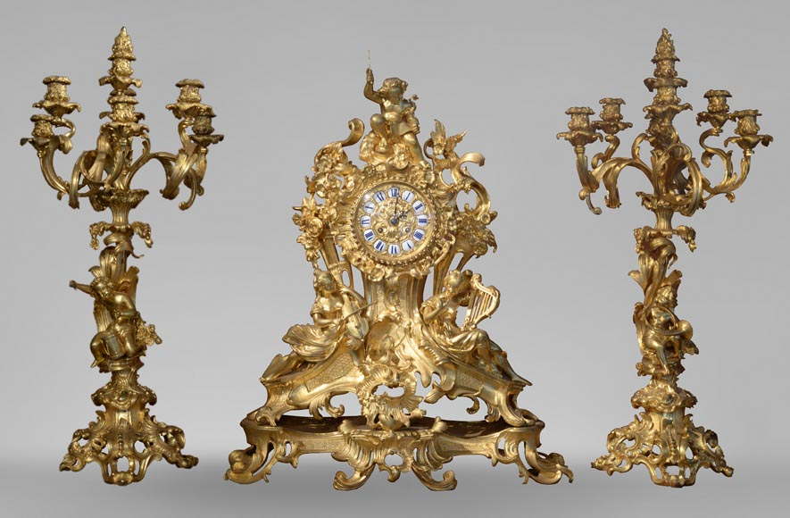 La Musique Garniture De Cheminee De Style Napoleon Iii Pendules