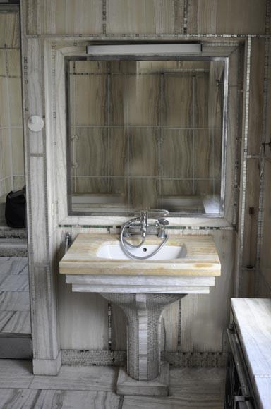 charles adda architecte paire de lavabos art d co en onyx et mosa que de p te de verre. Black Bedroom Furniture Sets. Home Design Ideas