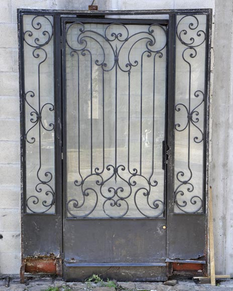Porte d 39 ext rieur et son encadrement en fer xx si cle portes - Porte en fer forge exterieur ...