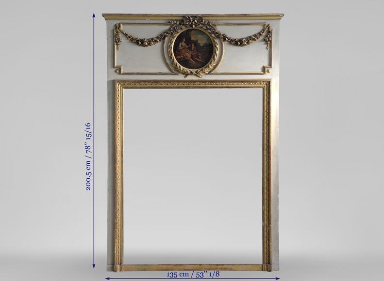 trumeau ancien de style louis xvi d cor peint et dor orn d 39 une peinture de sc ne galante en. Black Bedroom Furniture Sets. Home Design Ideas