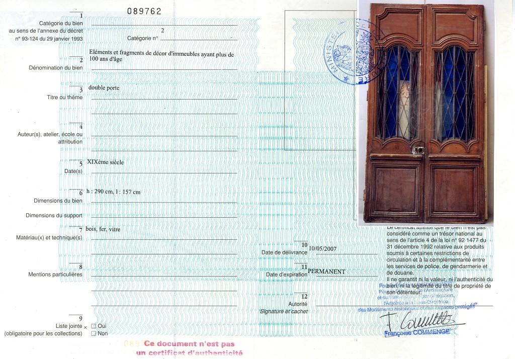 Porte en bois double face xviiie avec ferronerie du xixe portes - Certificat d heredite avec porte fort ...