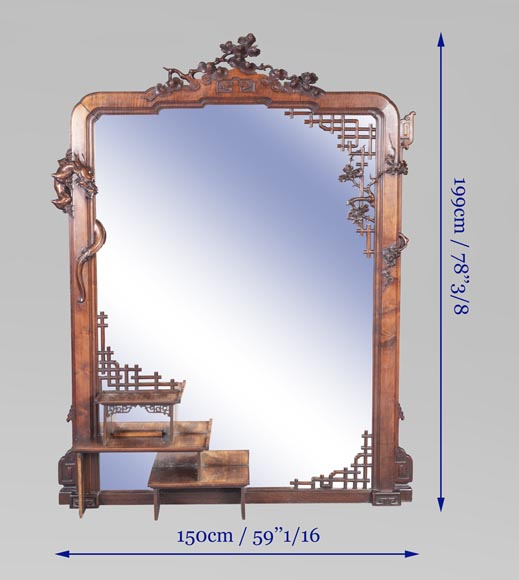 Grand miroir japonisant au dragon-7