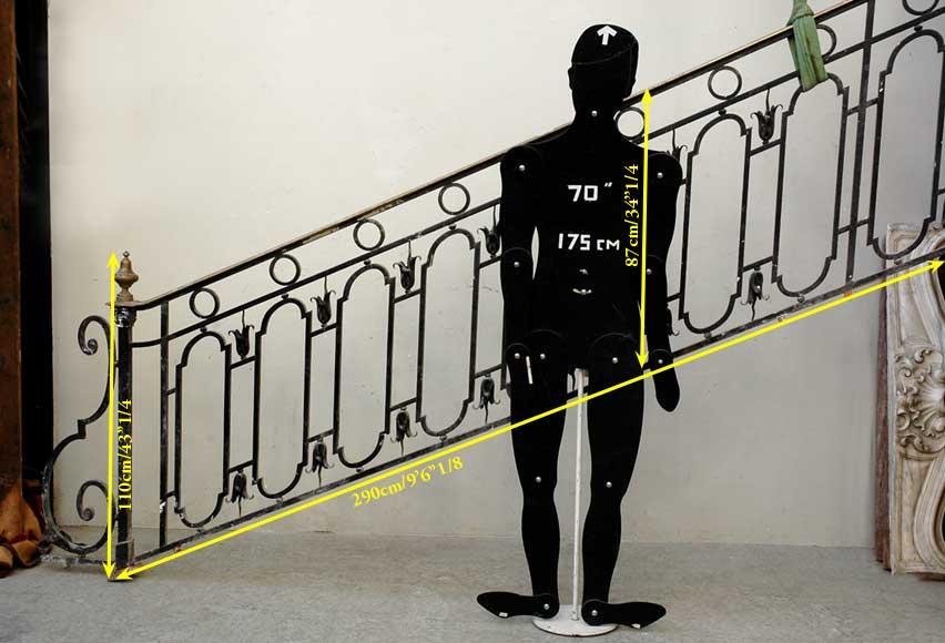 rampe d 39 escalier en fer forg avec main courante en laiton. Black Bedroom Furniture Sets. Home Design Ideas