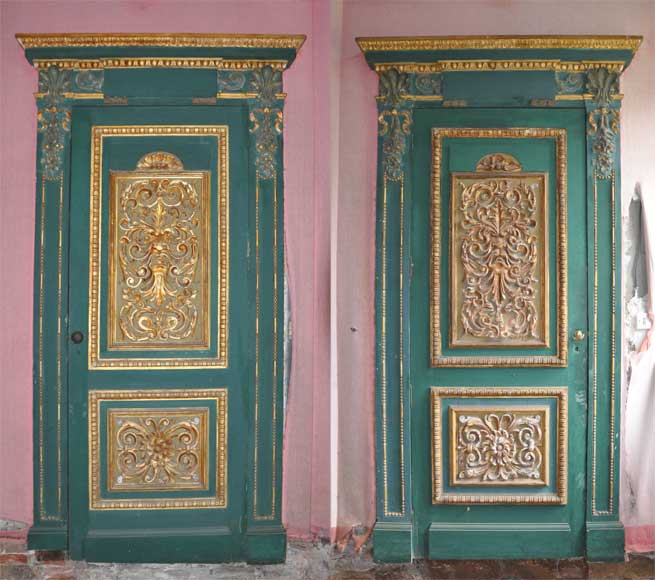 Paire De Portes Vertes 224 D 233 Cor De Panneaux De Bois Sculpt 233