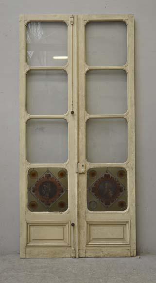 double porte d cor de vitrail profil d 39 homme et de femme en m daillon portes. Black Bedroom Furniture Sets. Home Design Ideas