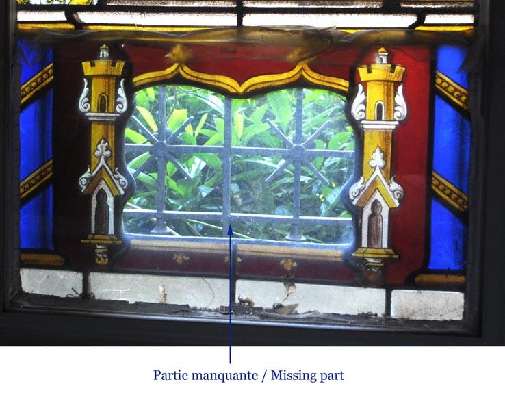 Grande fen tre en vitrail d cor de style n o renaissance for Fenetre en vitrail