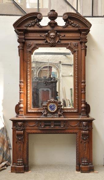 extraordinaire chemin e ancienne en ch ne de style napol on iii t tes de lions bois. Black Bedroom Furniture Sets. Home Design Ideas