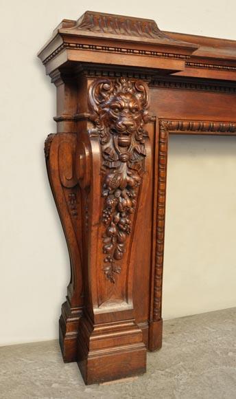 monumentale chemin e ancienne t tes de lions sculpt e en ch ne bois. Black Bedroom Furniture Sets. Home Design Ideas