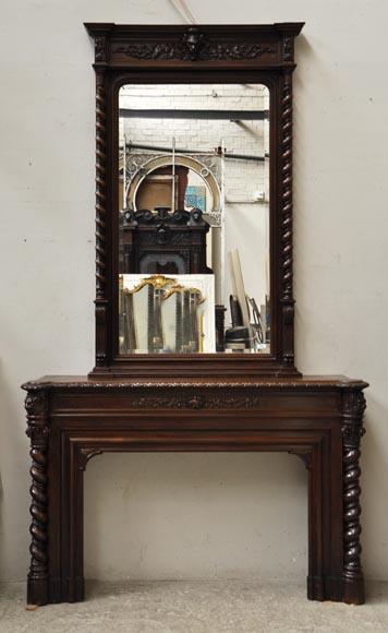 grande chemin e en ch ne de style louis xiii avec trumeau miroir bois. Black Bedroom Furniture Sets. Home Design Ideas
