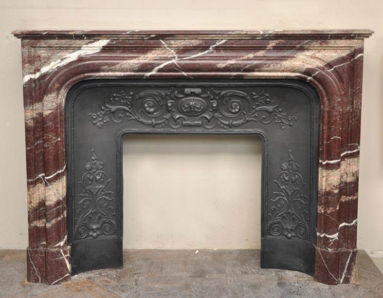 chemin e ancienne de style louis xiv en marbre de campan ruban marbre. Black Bedroom Furniture Sets. Home Design Ideas