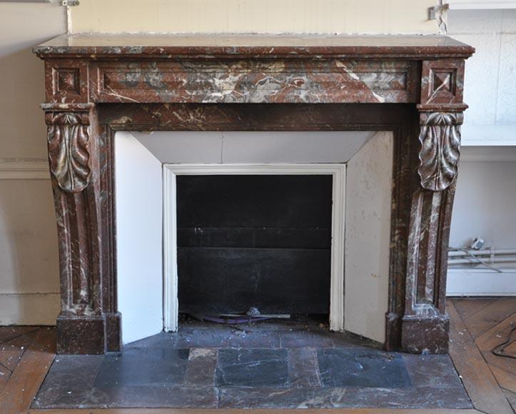 chemin e ancienne de style napol on iii en marbre rouge du nord marbre