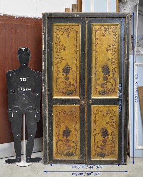 Double porte avec encadrement d cor de ch rubins et de bouquets de fleurs s - Porte et encadrement ...