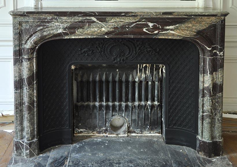 Cheminee Ancienne De Style Louis Xiv En Marbre Campan Grand Melange