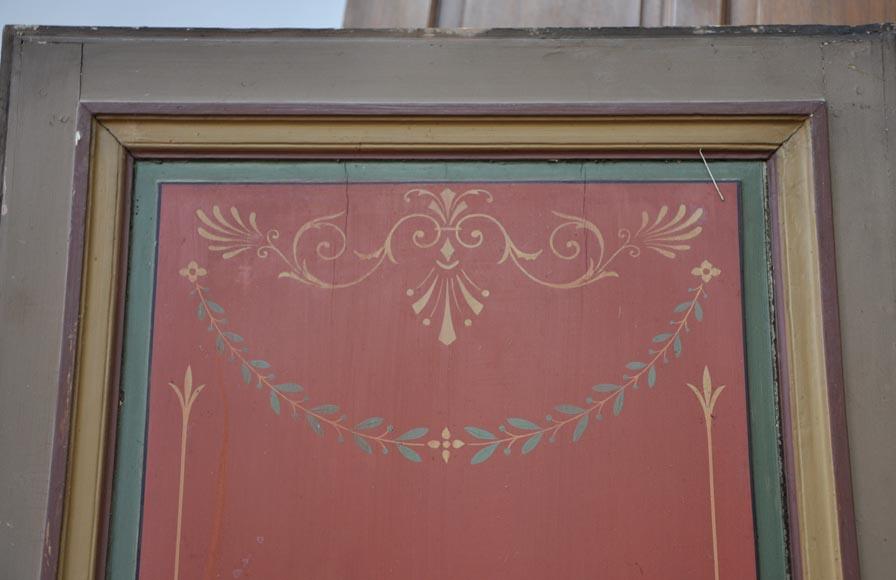 Double porte ancienne d cor floral peint portes for Plaque decorative porte