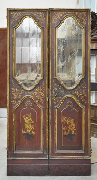 Belle double porte ancienne d cor de chinoiseries portes for Porte double interieure vitree