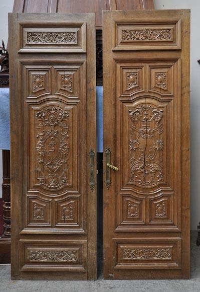 Fausse Paire De Portes Anciennes En Ch 234 Ne Sculpt 233 Du Xix 232