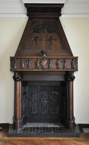 Chemin es anciennes bois for Decoration hotte de cheminee