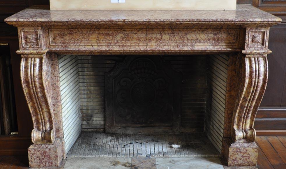 belle chemin e ancienne de style louis phillipe en marbre brocatelle marbre. Black Bedroom Furniture Sets. Home Design Ideas
