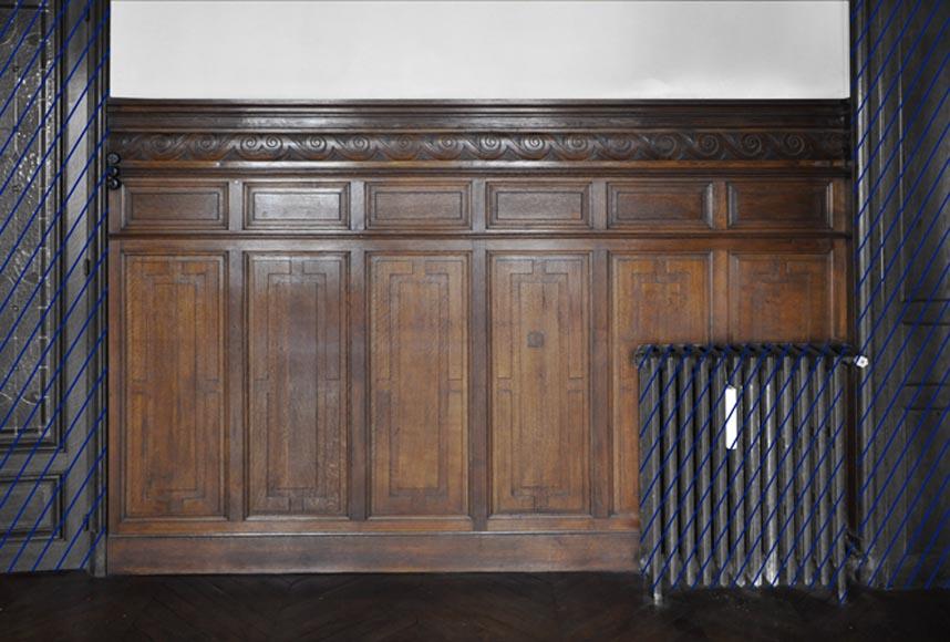 ensemble de soubassements en bois de ch ne d cor de frise de postes pi ce de boiseries. Black Bedroom Furniture Sets. Home Design Ideas