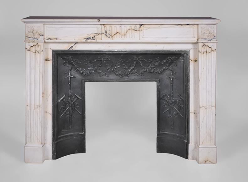 chemin e ancienne de style louis xvi en marbre paonazzo d cor de cannelures marbre