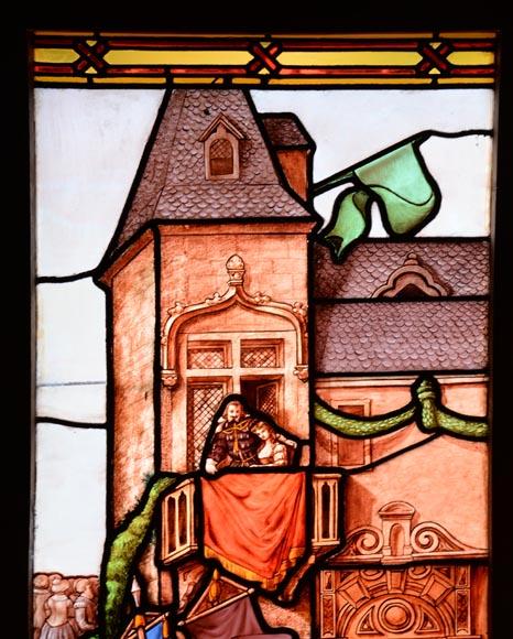 La f te des armourins grand vitrail historique de style for Architecture neo gothique