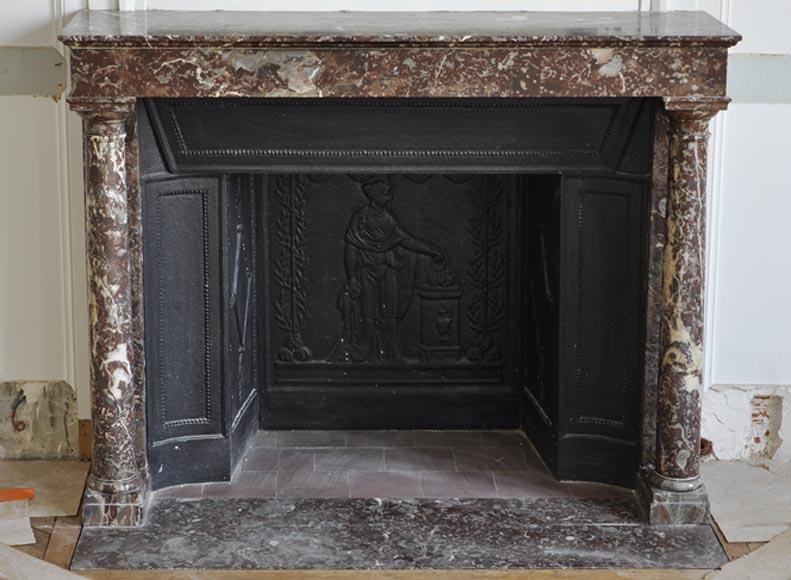 chemin e ancienne empire en marbre rouge royal colonnes. Black Bedroom Furniture Sets. Home Design Ideas