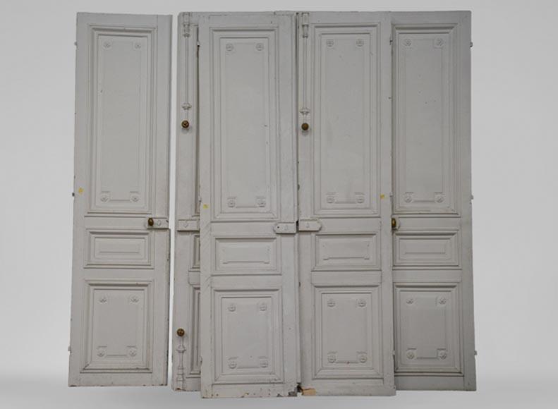 Ensemble ancien de trois double portes blanches de style for Double porte bois interieur