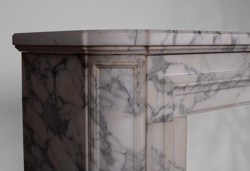 Cheminée ancienne Art Déco en marbre Arabescato - Marbre