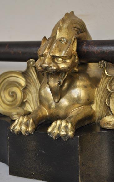 Barre De Chenets Ancienne D Cor De Lions En Fonte Et